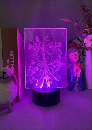 Lámpara de luz nocturna 3D Attack on Titan Team para el hogar con control remoto de 16 colores cambiantes, decoración del dormitorio, regalo creativo de cumpleaños de Navidad para hombres y amigos