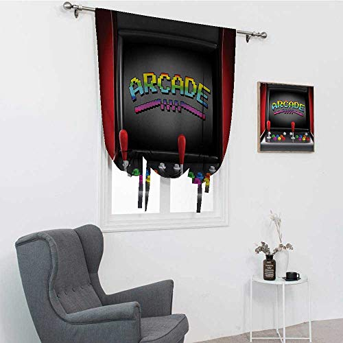 """Video Games Blinds for Windows, Arcade Machine Retro Gaming Fun Joystick Buttons Vintage 80s 90s Electronic Room Darken Curtains, Multicolor, 39"""" x 64"""""""