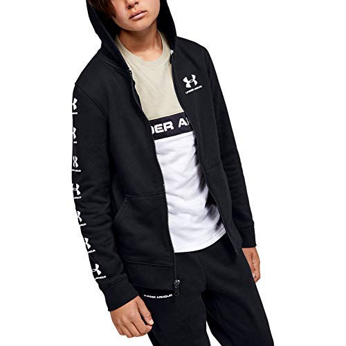 Under Armour Rival Full Zip Hoodie, Black (001)/White, Youth Large