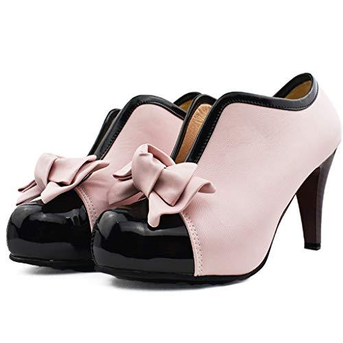 WHSHINE Damen Vintage Stöckel Pumps, Plateau Peep Toe Heels, Bowknot High Heel Dress Schuhe, Damenmode Sandalen