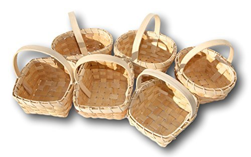 Small Flower Girl Woodchip Country Basket - Set of 6 Styles (6 x6 Inches)
