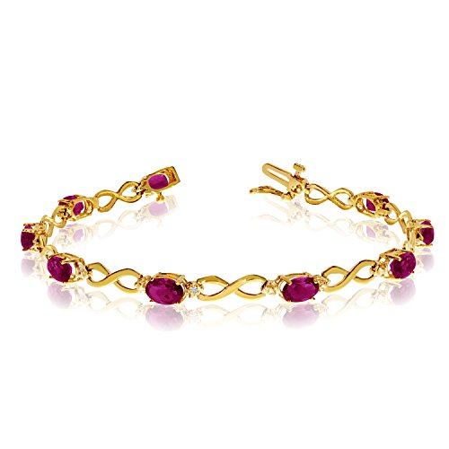 Jewels By Lux 14K Yellow Gold Oval Ruby and Diamond Bracelet