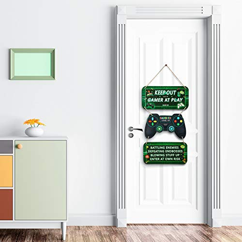 Gaming Door Signs Video Game Wooden Signs Gaming Keep Out Signs Video Game Party Decoration Video...