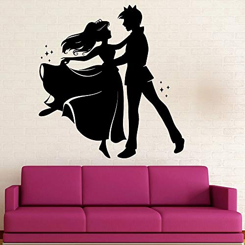 WERWN Pegatinas de Pared de Dibujos Animados Vinilo príncipe Princesa Cuento de Hadas Baile Pegatinas de Pared decoración de habitación de niños Mural