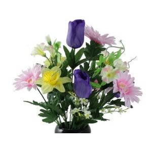 Daffodil Purple Tulip Daisy VASE for Grave-site Presentation in Remembrance of Loved Ones.