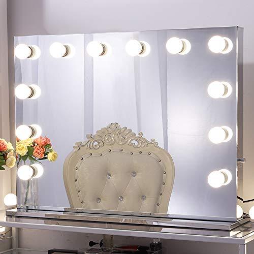 Chende Espejo de Maquillaje Hollywood con Luces para Pared, Espejo de Maquillaje Iluminado con Función Dimmer para Mesa de Dormitorio, Espejo Profesional Grande para Teatro con 12 Leds(80cm X6