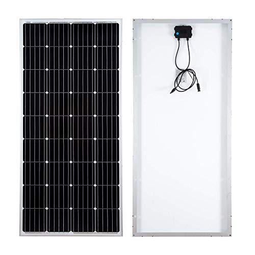 SARONIC Módulo Fotovoltaico Mono Panel Solar de 160W y 12V para Cargar una Batería de 12V en una Autocaravana, Caravana, Bote o Yate o Fuera de la Red