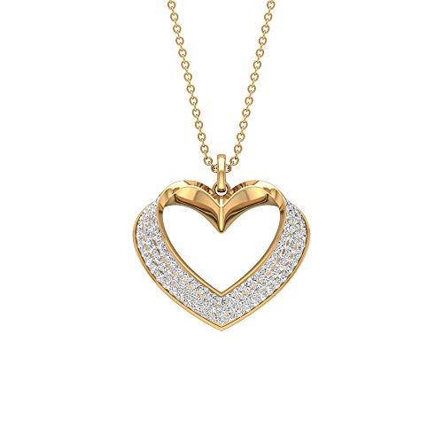 Ciondolo a forma di cuore con diamante certificato da 0,57 ct, con ciondolo a forma di cuore, in oro antico inciso, collana da sposa vintage 10K Giallo oro