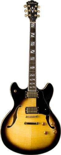 Washburn HB Series HB35TSK Hollow-Body Electric Guitar, Tobacco SunBurst