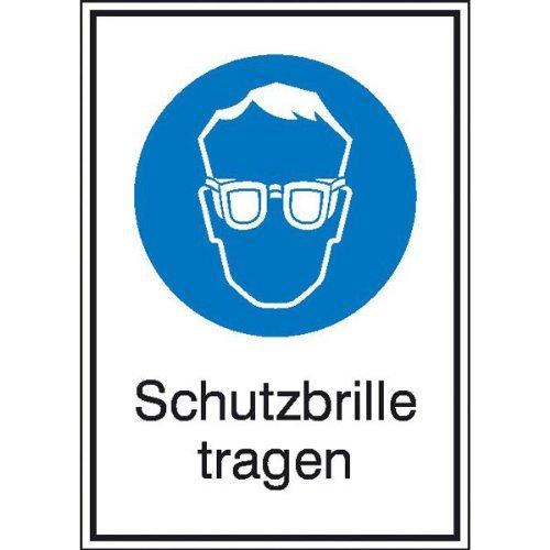 INDIGOS UG - Schutzbrille tragen Gebotsschild, selbstklebende Folie - Größe 13,10x18,50 cm Sicherheit Warnung Büro Betrieb Werkstatt