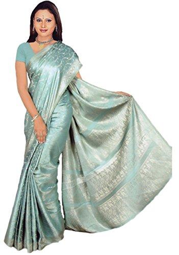 Trendofindia Indischer Bollywood Fashion Sari Stoff Damenkostüm Kleid Gletschereis CA118