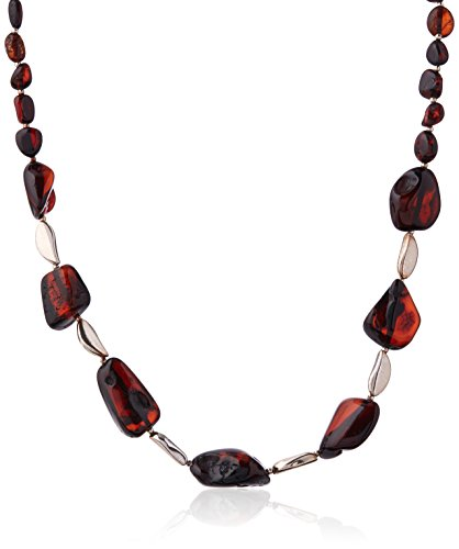 Goldmajor Sterling Silver and Dark Cherry Amber Beads Modern Necklace of 40cm with 6cm Extension
