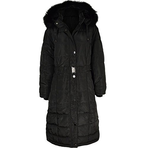 cf1b05472e Fashion Thirsty Womens Ladies Long Winter Coat Padded Quilted Puffa Jacket  Fur Hooded Plus Size