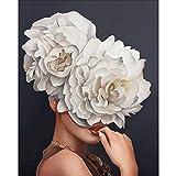 Kits de pintura de bricolaje por números, figura de niña de flores, pinturas al óleo, arte de pared para el hogar, imagen por números, regalo A1 50x70cm