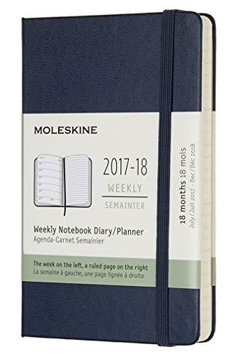 Moleskine DHB2018WN2Y18 - Agenda semanal 2017-2018, de bolsillo, 18 meses, tapa dura, color azul zafiro (AGENDAS 18 MOIS)