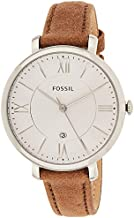 Fossil Women's Jacqueline Quartz Stainless Steel and Leather Watch, Color: Silver, Light Brown (Model: ES3708)