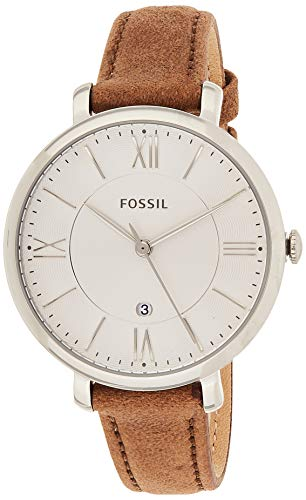 Fossil Women's Jacqueline Quartz Leather Three-Hand Watch, Color: Silver, Light Brown (Model: ES3708)