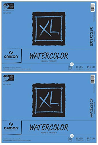 2-Pack Bundle - Canson XL Series - 11 x 15 inch - Cold Press Watercolor Textured Paper Pad, Fold Over, 140 Pound, 30 Sheets Each