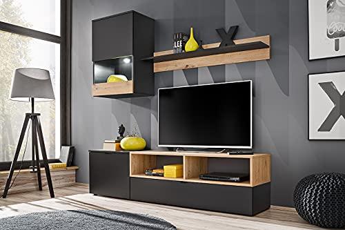 BIM Furniture Mueble de salón mini de 175 cm, juego de vitrina LED (negro mate/roble ártisano)
