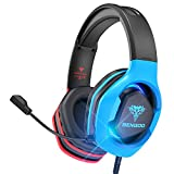 BENGOO G9500 Gaming Headset Headphones for PS4 Xbox One PC Controller, Over Ear Headphones with 720° Noise Cancelling Mic, Bicolor LED Light, Adjustable Soft Memory Earmuff for Gamecube Super Nintendo