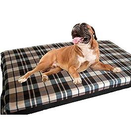 KosiPet Large Deluxe High Density Foam Mattress Waterproof Dog Bed Beds Cream Check Fleece