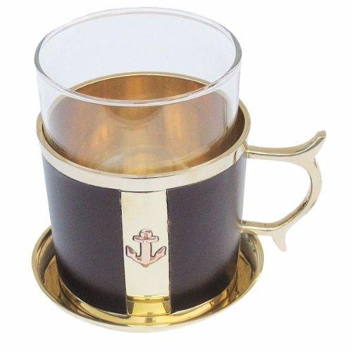 Grog- Glas/Tee- Glas- maritim- Messing, Leder, Glas mit Untersetzer- Ankermotiv