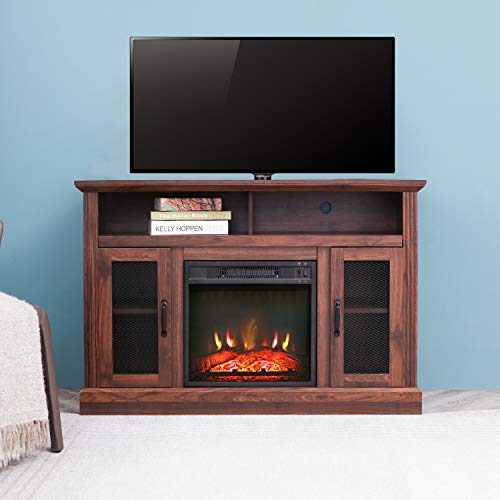 """Festival Depot 47"""" Wide TV Stand with Electric Fireplace Console for TVs up to 55"""",for Living Room (47inch Espresso) Décor Dining electric Features Fireplaces Home Kitchen"""