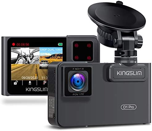 Kingslim D1 Pro Dual Dash Cam with Wi Fi GPS 2 5K 1080P Front and Cabin Dash Camera for Cars product image