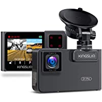 Kingslim D1 Pro Dual Dash Cam with Wi-Fi GPS, 2.5K/1080P Front and Cabin Dash Camera