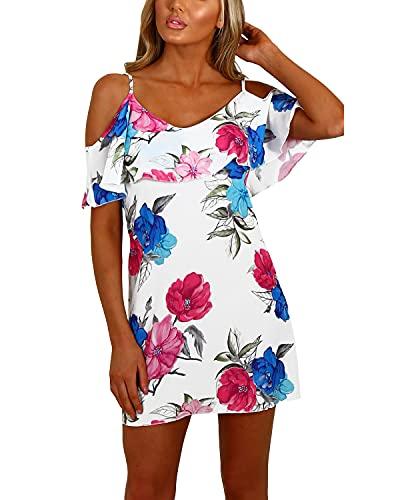 YOINS Sommerkleid Damen Sexy Tshirt Kleid Schulterfrei Tunika Kurzarm MiniKleid Strandkleid Blumenmuster Schulterfrei-Multi EU48