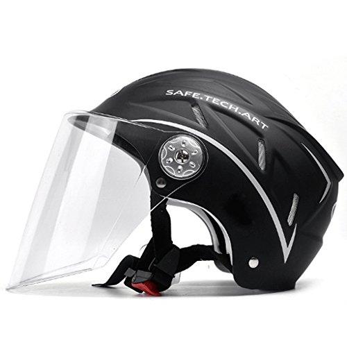 FLY® Casque, Demi-casque Léger, Casque De Moto Pour Hommes Et Femmes, Lentille Transparente (Couleur : NOIR)