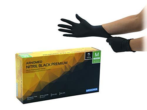 Nitrilhandschuhe puderfreie latexfreie schwarze Einmalhandschuhe Größe M 100 Stück/Box ARNOMED Einweghandschuhe in gr. S M L XL