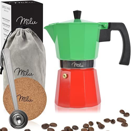 Milu Cafetera Italiana (sin inducción) | 2, 3, 6, 9 Tazas | Cafetera Moka de Aluminio, Expresso Maker - Set comprensivo di sottobicchiere, cucchiaio, spazzola (Italia, 9 tazze (400ml)