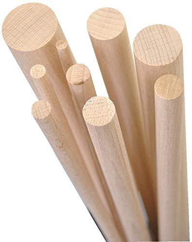 Gedotec Buchenrundstab 10 mm Bastelstäbe glatt aus BUCHE | Länge der Rundstäbe 1000 mm | stabile & hochwertige Holzstäbe aus Buchenholz | MADE IN GERMANY | 5 Stück - Rundhölzer zum Basteln & Garten