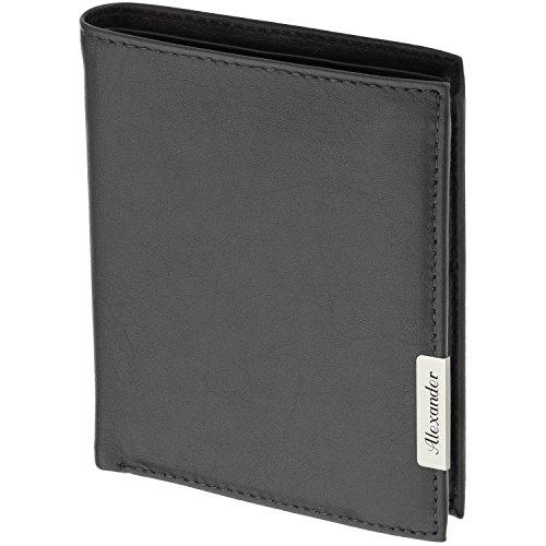 Cadenis Herren Geldbörse Portemonnaie Leder mit Laser-Gravur aus Rindnappa schwarz Hochformat 11 x 9 cm