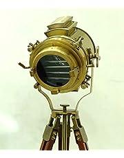 Vintage Industriële Designer Nautische Spot Licht Antieke Houten Statief Vloerlamp