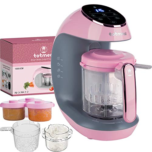 TOTMEAL Baby Food Maker Package -The Fastest Baby Food Maker/Steamer/Mixer/Purer/Blender/Chopper Auto Self Cleaning Sterilizer Food and Milk Bottle Warmer with All Needed Accessories, Pink - Rosegold