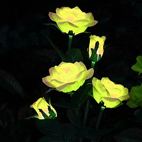 CUIFULI Luces solares LED de flores de rosas para exteriores, funciona con energía solar para decoraciones de jardinería, patio, tumba, cementerio, balcón, decoración de Navidad, color amarillo