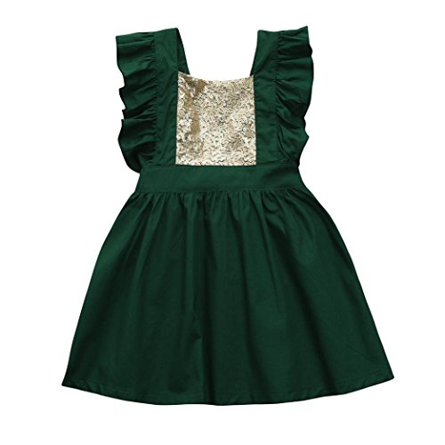 Robe de Princesse Fille,Manadlian BéBé Fille Sangle sans Manches Tutu Backless Princess Dress (Vert, 12 Mois)