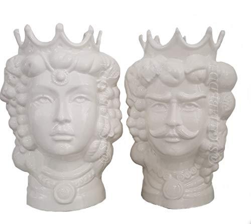 sicilia bedda - Cabezales de moro de cerámica de Caltagirone White Edition...