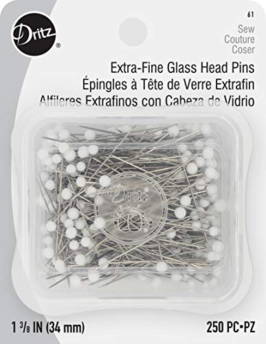 Dritz 61 Glass Head Pins, Extra Fine, 1-3/8-Inch (250-Count)