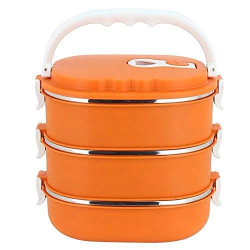 Tragbare Lunchbox aus Edelstahl, isoliert, für Büroangestellte, Studenten, Fast Food-Box, rechteckig, mehrschichtige Lunchbox für Erwachsene, Orange