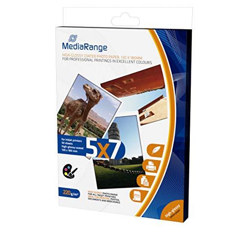 MediaRange Papel fotográfico 13x18cm blanco MRINK114 50Bl 220gr alto brillo