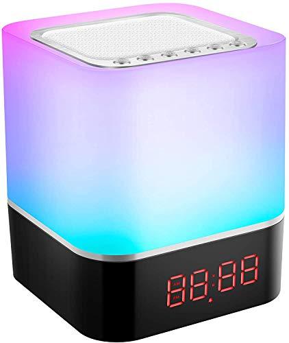 StillCool - Lámpara de noche recargable portátil 6 en 1 con altavoz Bluetooth, música, USB, FM, radio despertador digital, luz LED, multicolor