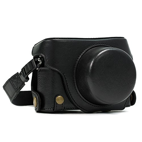 MegaGear  Ever Ready  Custodia in Pelle Protettiva Fotocamera per Panasonic LUMIX LX100, DMC-LX100 (Nero)