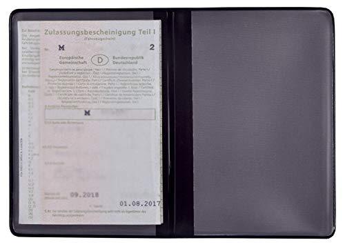 KFZ Schein Schutzhülle 2 Fächer Made in Germany Etui Mappe viele Farben Ausweisetui Kartenhülle Fahrzeugschein Hülle (Schwarz)