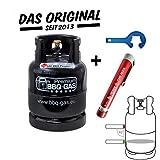 CAGO BBQ Gasflasche 8 kg ungefüllt mit Premium Gas-Füllstandsanzeiger Füllstandsmesser für Gasflasche 3 5 8 11 kg mit Gasflaschenschlüssel, f. Grill Unterschrank