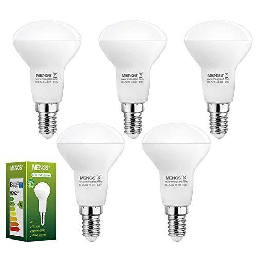 MENGS E14 Bombilla LED Reflectoras 5.5W (Equivalente a 40W) Luz LED opal Blanco Cálido 2700K, AC 220-240V, 470LM Con plástico térmico Lámpara LED (Blanco Cálido)