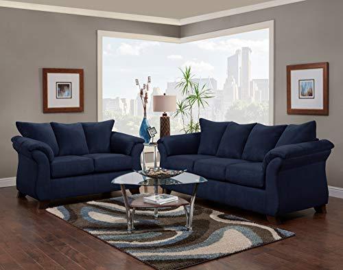 Roundhill Furniture Aruca Navy Blue Microfiber Pillow Back Sofas,