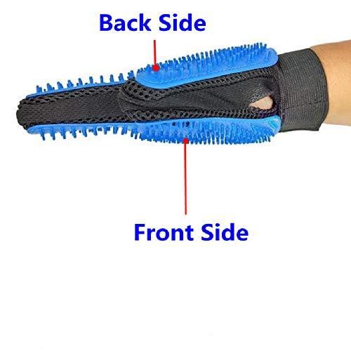 YUDUODUO een paar handschoenen met vijf vingers voor huisdierenverzorging, ideaal voor het verwijderen van haar van hondenhaar, baden en schoonmaken, Blauw